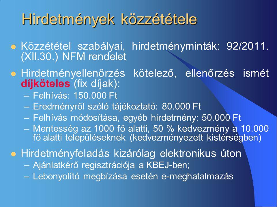 Hirdetmények közzététele  Közzététel szabályai, hirdetményminták: 92/2011. (XII.30.) NFM rendelet  Hirdetményellenőrzés kötelező, ellenőrzés ismét d