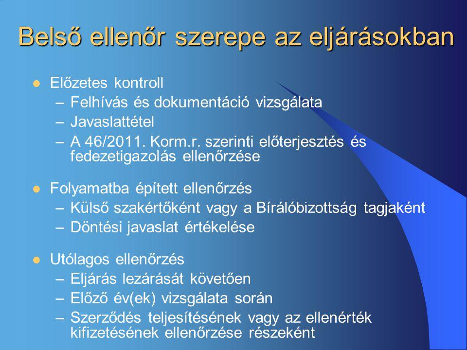 Belső ellenőr szerepe az eljárásokban  Előzetes kontroll –Felhívás és dokumentáció vizsgálata –Javaslattétel –A 46/2011. Korm.r. szerinti előterjeszt