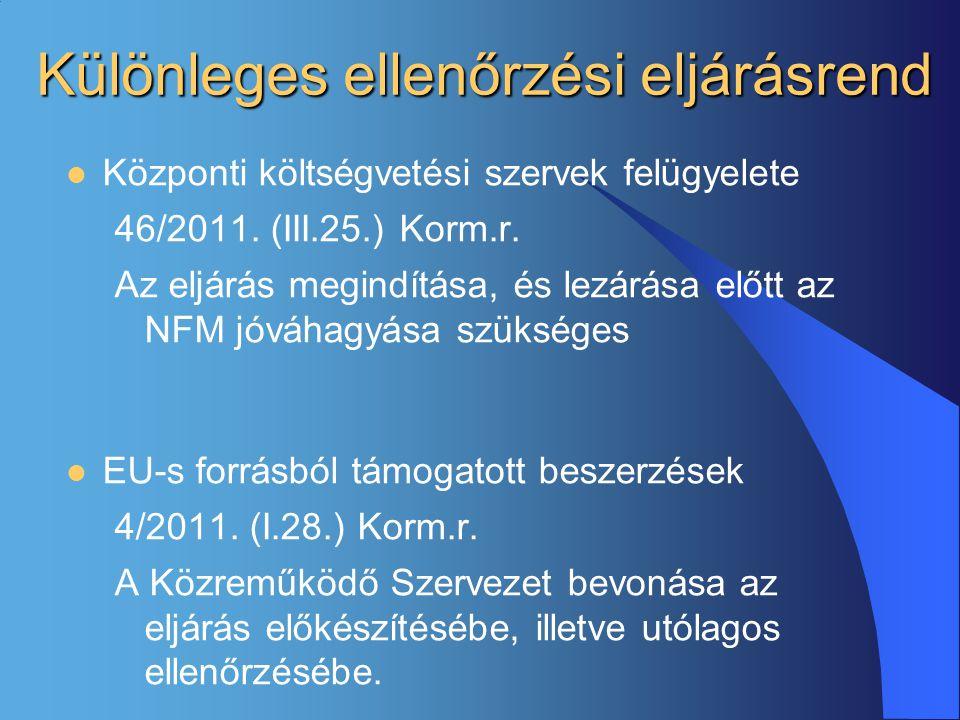 Különleges ellenőrzési eljárásrend  Központi költségvetési szervek felügyelete 46/2011. (III.25.) Korm.r. Az eljárás megindítása, és lezárása előtt a