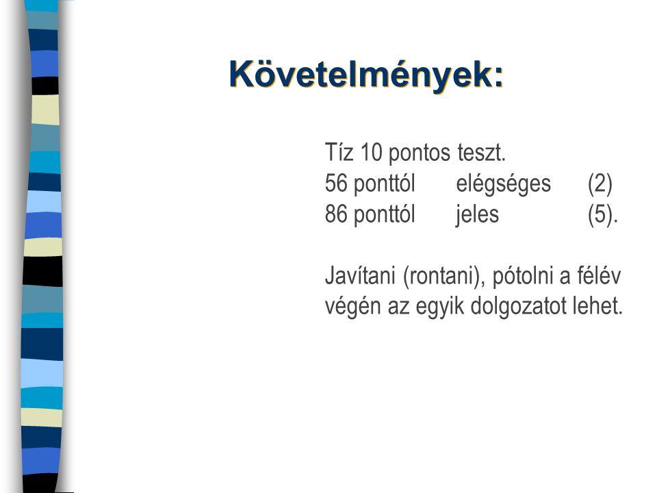 Követelmények: Tíz 10 pontos teszt. 56 ponttól elégséges (2) 86 ponttól jeles (5).