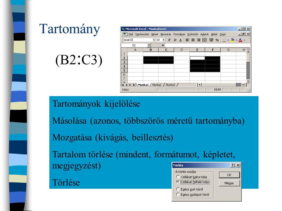 Tartomány Tartományok kijelölése Másolása (azonos, többszörös méretű tartományba) Mozgatása (kivágás, beillesztés) Tartalom törlése (mindent, formátumot, képletet, megjegyzést) Törlése (B2 : C3)