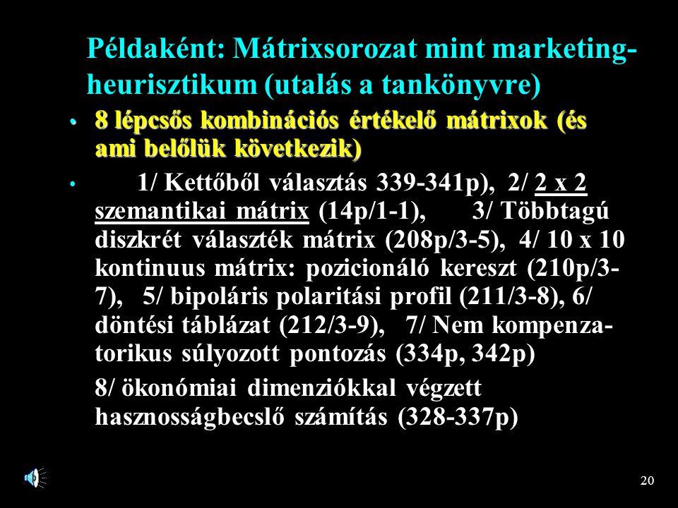 20 Példaként: Mátrixsorozat mint marketing- heurisztikum (utalás a tankönyvre) • 8 lépcsős kombinációs értékelő mátrixok (és ami belőlük következik) • 1/ Kettőből választás 339-341p), 2/ 2 x 2 szemantikai mátrix (14p/1-1), 3/ Többtagú diszkrét választék mátrix (208p/3-5), 4/ 10 x 10 kontinuus mátrix: pozicionáló kereszt (210p/3- 7), 5/ bipoláris polaritási profil (211/3-8), 6/ döntési táblázat (212/3-9), 7/ Nem kompenza- torikus súlyozott pontozás (334p, 342p) 8/ ökonómiai dimenziókkal végzett hasznosságbecslő számítás (328-337p)