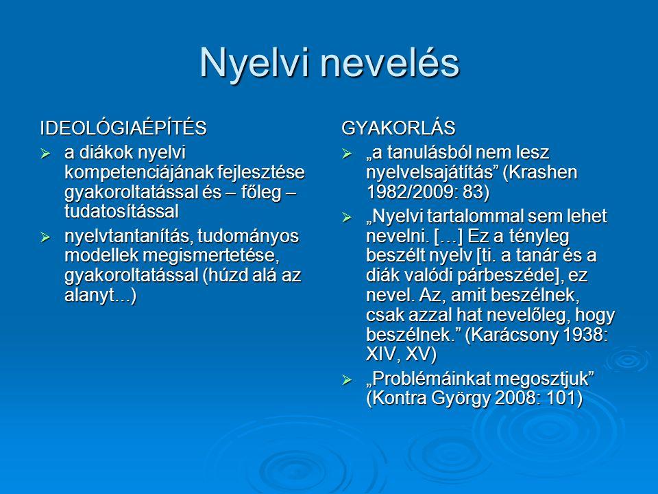 """Nyelvi nevelés IDEOLÓGIAÉPÍTÉS  a diákok nyelvi kompetenciájának fejlesztése gyakoroltatással és – főleg – tudatosítással  nyelvtantanítás, tudományos modellek megismertetése, gyakoroltatással (húzd alá az alanyt...) GYAKORLÁS  """"a tanulásból nem lesz nyelvelsajátítás (Krashen 1982/2009: 83)  """"Nyelvi tartalommal sem lehet nevelni."""