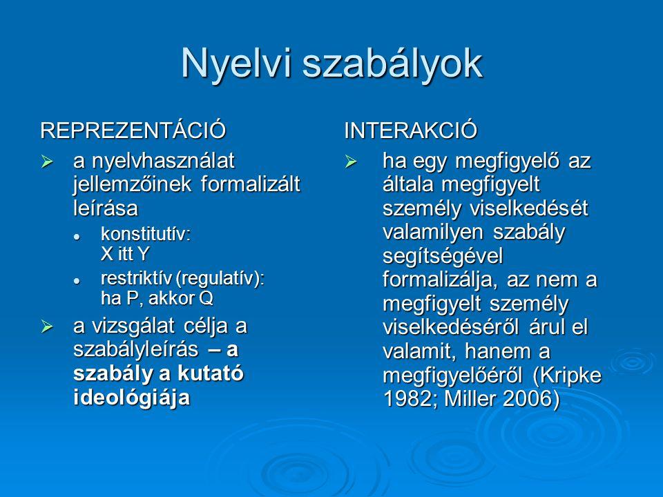 Nyelvi szabályok REPREZENTÁCIÓ  a nyelvhasználat jellemzőinek formalizált leírása  konstitutív: X itt Y  restriktív (regulatív): ha P, akkor Q  a vizsgálat célja a szabályleírás – a szabály a kutató ideológiája INTERAKCIÓ  ha egy megfigyelő az általa megfigyelt személy viselkedését valamilyen szabály segítségével formalizálja, az nem a megfigyelt személy viselkedéséről árul el valamit, hanem a megfigyelőéről (Kripke 1982; Miller 2006)