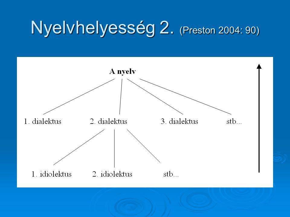 Nyelvhelyesség 2. (Preston 2004: 90)