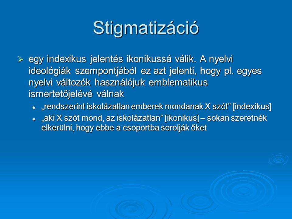 Stigmatizáció  egy indexikus jelentés ikonikussá válik.