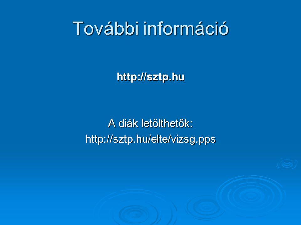 További információ http://sztp.hu A diák letölthetők: http://sztp.hu/elte/vizsg.pps