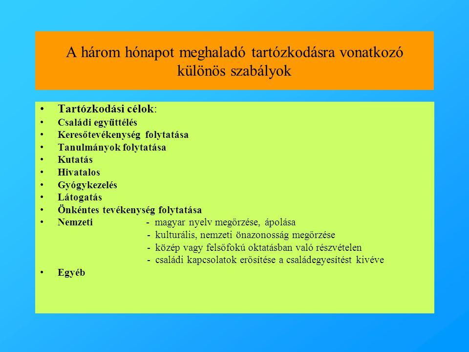A három hónapot meghaladó tartózkodásra vonatkozó különös szabályok •Tartózkodási célok: •Családi együttélés •Keresőtevékenység folytatása •Tanulmányok folytatása •Kutatás •Hivatalos •Gyógykezelés •Látogatás •Önkéntes tevékenység folytatása •Nemzeti - magyar nyelv megőrzése, ápolása - kulturális, nemzeti önazonosság megőrzése - közép vagy felsőfokú oktatásban való részvételen - családi kapcsolatok erősítése a családegyesítést kivéve •Egyéb