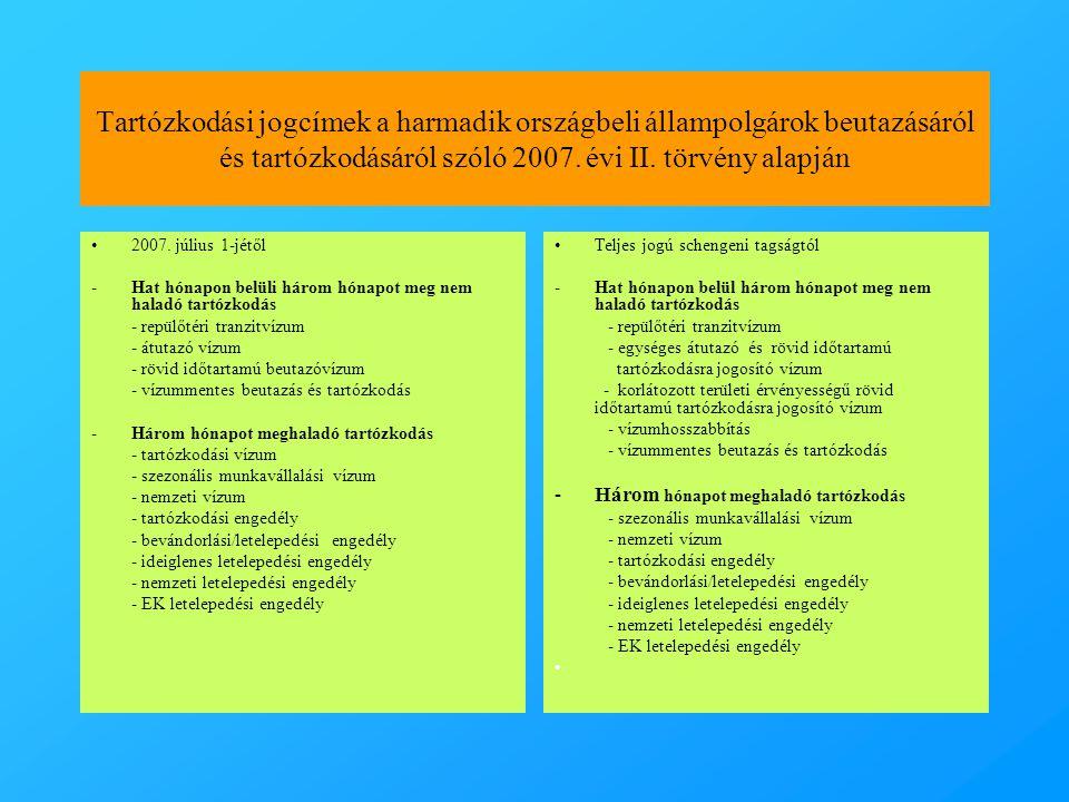 Tartózkodási jogcímek a harmadik országbeli állampolgárok beutazásáról és tartózkodásáról szóló 2007. évi II. törvény alapján •2007. július 1-jétől -H