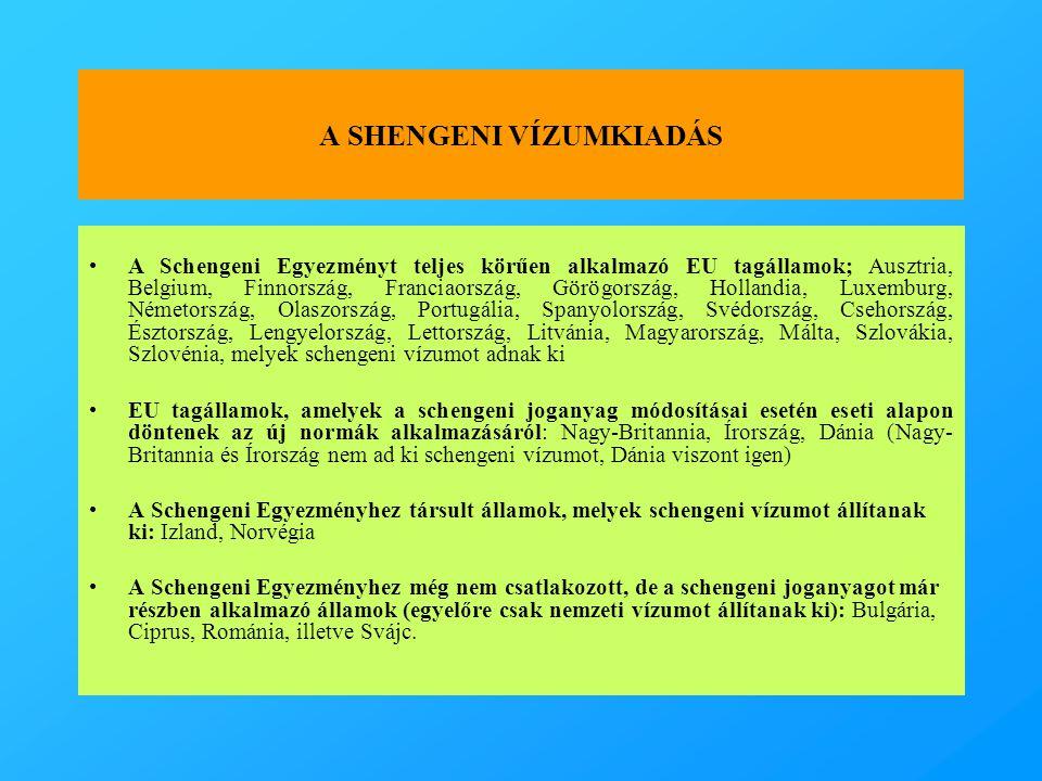 A SHENGENI VÍZUMKIADÁS •A Schengeni Egyezményt teljes körűen alkalmazó EU tagállamok; Ausztria, Belgium, Finnország, Franciaország, Görögország, Hollandia, Luxemburg, Németország, Olaszország, Portugália, Spanyolország, Svédország, Csehország, Észtország, Lengyelország, Lettország, Litvánia, Magyarország, Málta, Szlovákia, Szlovénia, melyek schengeni vízumot adnak ki •EU tagállamok, amelyek a schengeni joganyag módosításai esetén eseti alapon döntenek az új normák alkalmazásáról: Nagy-Britannia, Írország, Dánia (Nagy- Britannia és Írország nem ad ki schengeni vízumot, Dánia viszont igen) •A Schengeni Egyezményhez társult államok, melyek schengeni vízumot állítanak ki: Izland, Norvégia •A Schengeni Egyezményhez még nem csatlakozott, de a schengeni joganyagot már részben alkalmazó államok (egyelőre csak nemzeti vízumot állítanak ki): Bulgária, Ciprus, Románia, illetve Svájc.
