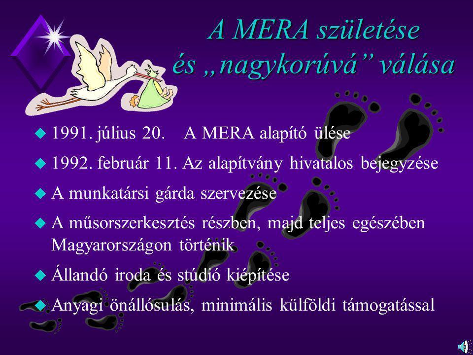 """A MERA születése és """"nagykorúvá"""" válása u 1991. július 20. A MERA alapító ülése u 1992. február 11. Az alapítvány hivatalos bejegyzése u A munkatársi"""