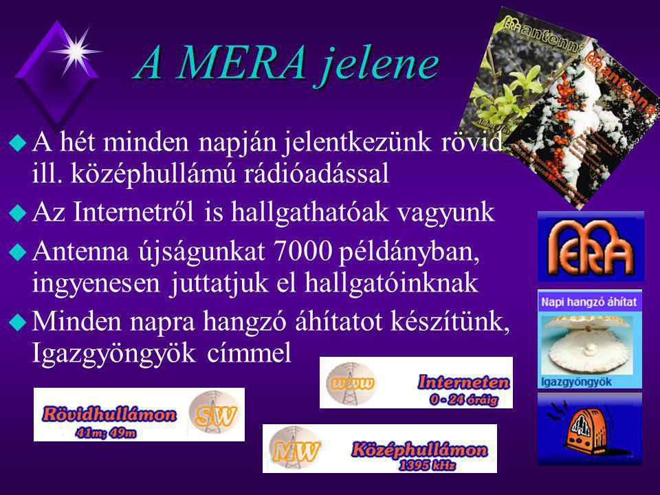 A MERA jelene u A hét minden napján jelentkezünk rövid ill. középhullámú rádióadással u Az Internetről is hallgathatóak vagyunk u Antenna újságunkat 7