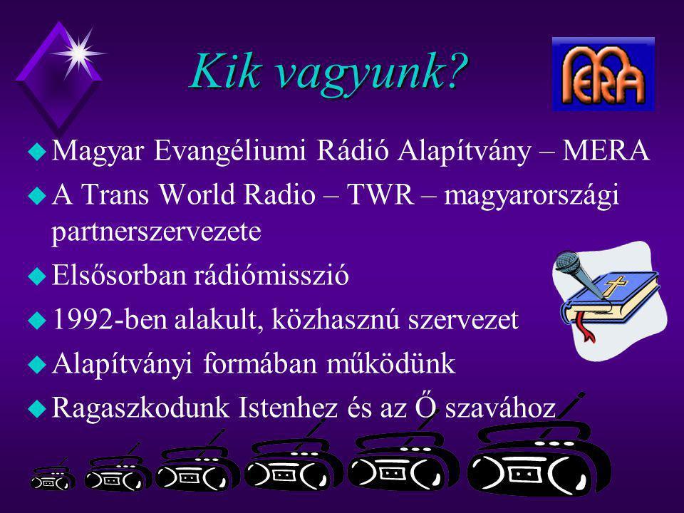 Kik vagyunk?  Magyar Evangéliumi Rádió Alapítvány – MERA u A Trans World Radio – TWR – magyarországi partnerszervezete u Elsősorban rádiómisszió u 19