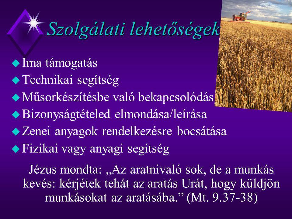"""Szolgálati lehetőségek u Ima támogatás u Technikai segítség u Műsorkészítésbe való bekapcsolódás u Bizonyságtételed elmondása/leírása u Zenei anyagok rendelkezésre bocsátása u Fizikai vagy anyagi segítség Jézus mondta: """"Az aratnivaló sok, de a munkás kevés: kérjétek tehát az aratás Urát, hogy küldjön munkásokat az aratásába. (Mt."""