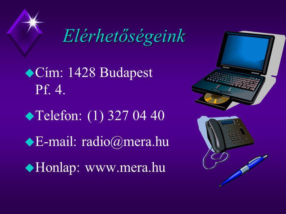 Elérhetőségeink  Cím: 1428 Budapest Pf. 4.  Telefon: (1) 327 04 40  E-mail: radio@mera.hu u Honlap: www.mera.hu