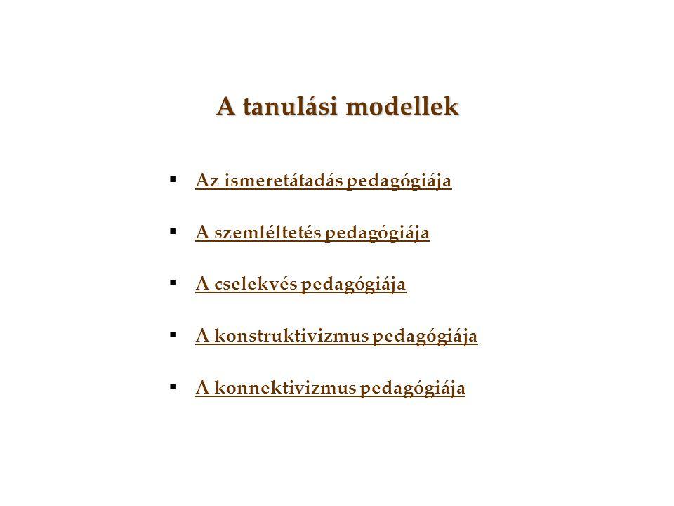 A tanulási modellek  Az ismeretátadás pedagógiája Az ismeretátadás pedagógiája  A szemléltetés pedagógiája A szemléltetés pedagógiája  A cselekvés