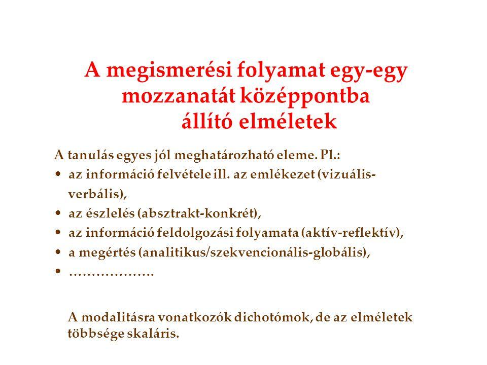 A tanulás egyes jól meghatározható eleme. Pl.: • az információ felvétele ill. az emlékezet (vizuális- verbális), • az észlelés (absztrakt-konkrét), •