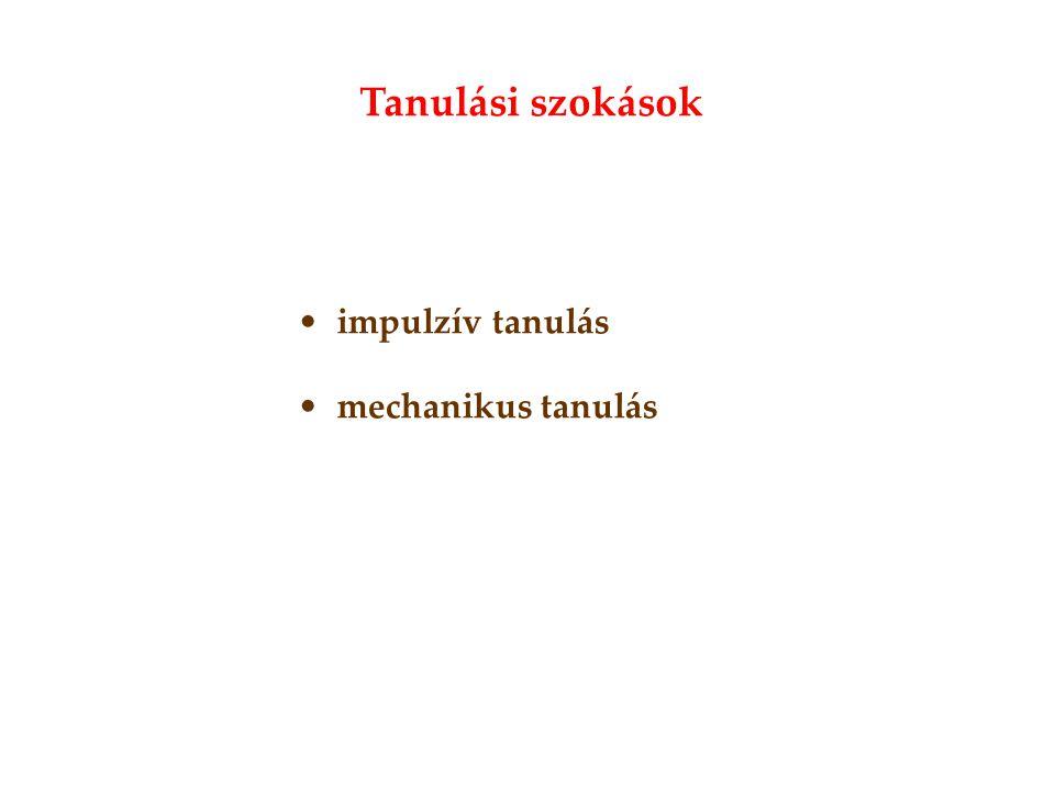 •impulzív tanulás •mechanikus tanulás Tanulási szokások