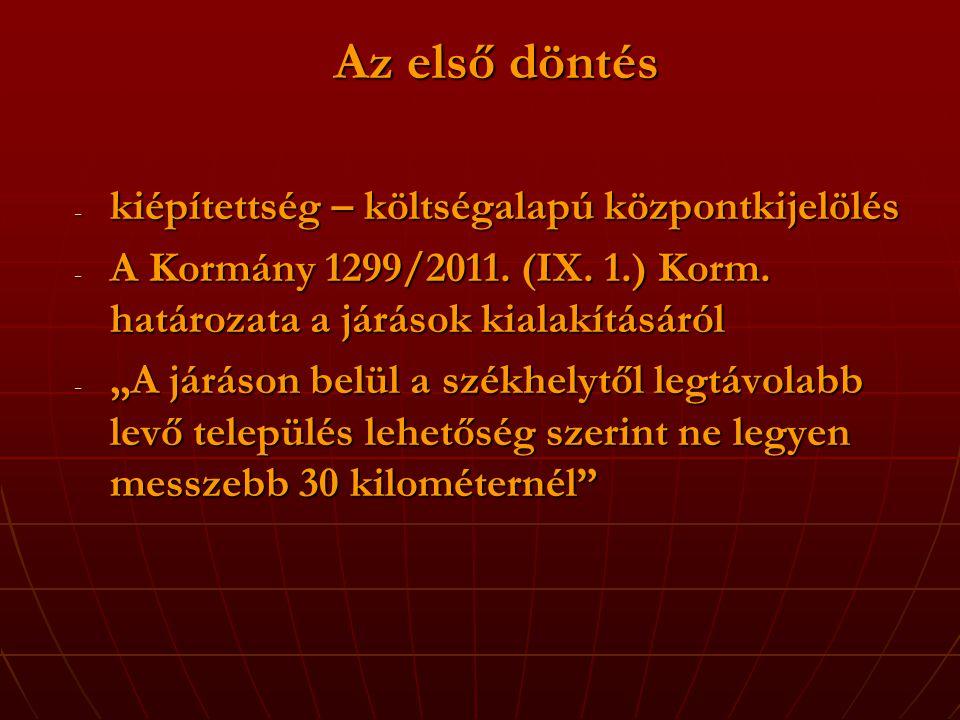 Az első döntés - kiépítettség – költségalapú központkijelölés - A Kormány 1299/2011.