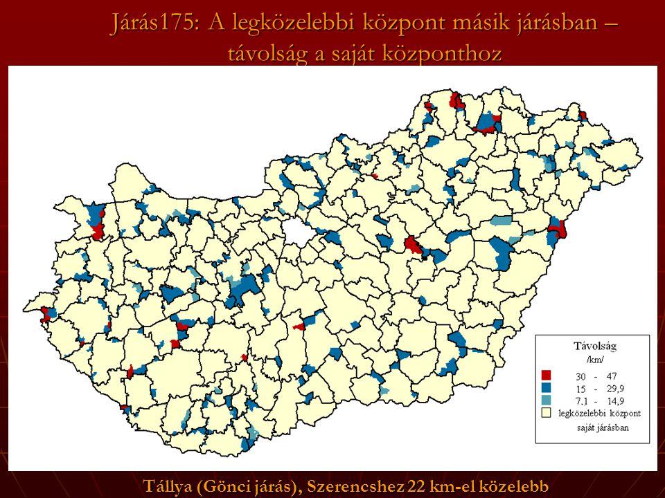 Járás175: A legközelebbi központ másik járásban – távolság a saját központhoz Tállya (Gönci járás), Szerencshez 22 km-el közelebb