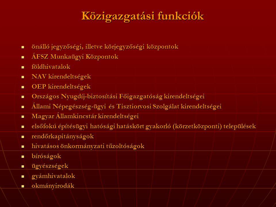 Közigazgatási funkciók  önálló jegyzőségi, illetve körjegyzőségi központok  ÁFSZ Munkaügyi Központok  földhivatalok  NAV kirendeltségek  OEP kirendeltségek  Országos Nyugdíj-biztosítási Főigazgatóság kirendeltségei  Állami Népegészség-ügyi és Tisztiorvosi Szolgálat kirendeltségei  Magyar Államkincstár kirendeltségei  elsőfokú építésügyi hatósági hatáskört gyakorló (körzetközponti) települések  rendőrkapitányságok  hivatásos önkormányzati tűzoltóságok  bíróságok  ügyészségek  gyámhivatalok  okmányirodák
