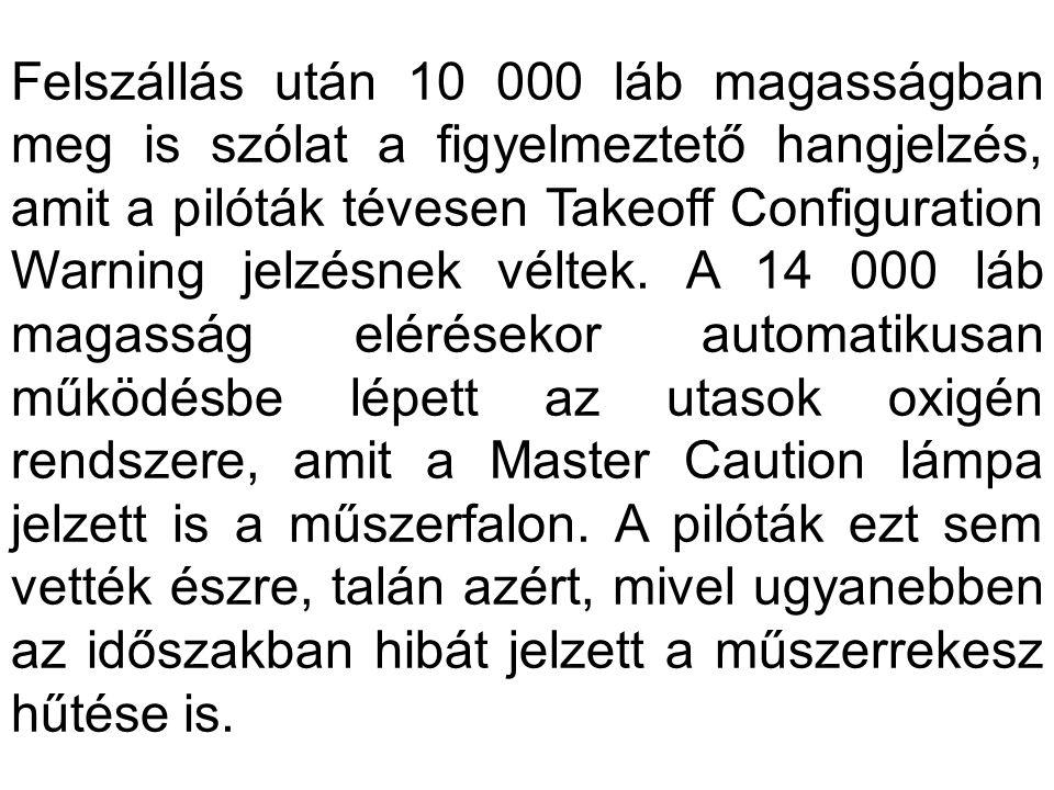 Felszállás után 10 000 láb magasságban meg is szólat a figyelmeztető hangjelzés, amit a pilóták tévesen Takeoff Configuration Warning jelzésnek véltek.