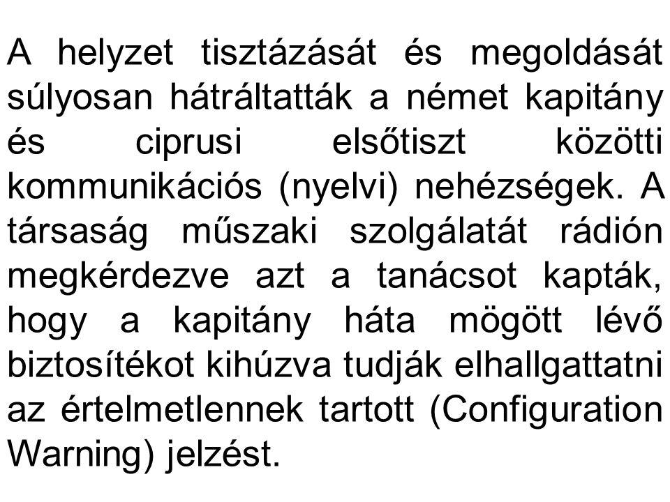 A helyzet tisztázását és megoldását súlyosan hátráltatták a német kapitány és ciprusi elsőtiszt közötti kommunikációs (nyelvi) nehézségek.