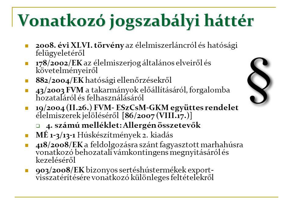 Vonatkozó jogszabályi háttér  2008. évi XLVI. törvény az élelmiszerláncról és hatósági felügyeletéről  178/2002/EK az élelmiszerjog általános elveir