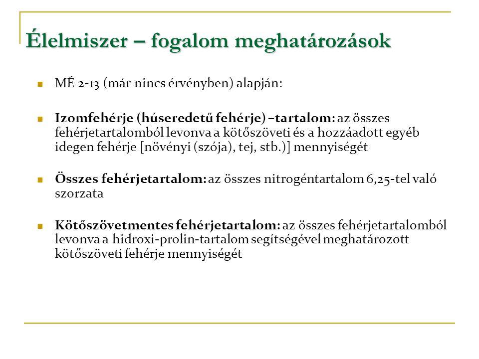 Élelmiszer – fogalom meghatározások  MÉ 2-13 (már nincs érvényben) alapján:  Izomfehérje (húseredetű fehérje) –tartalom: az összes fehérjetartalombó