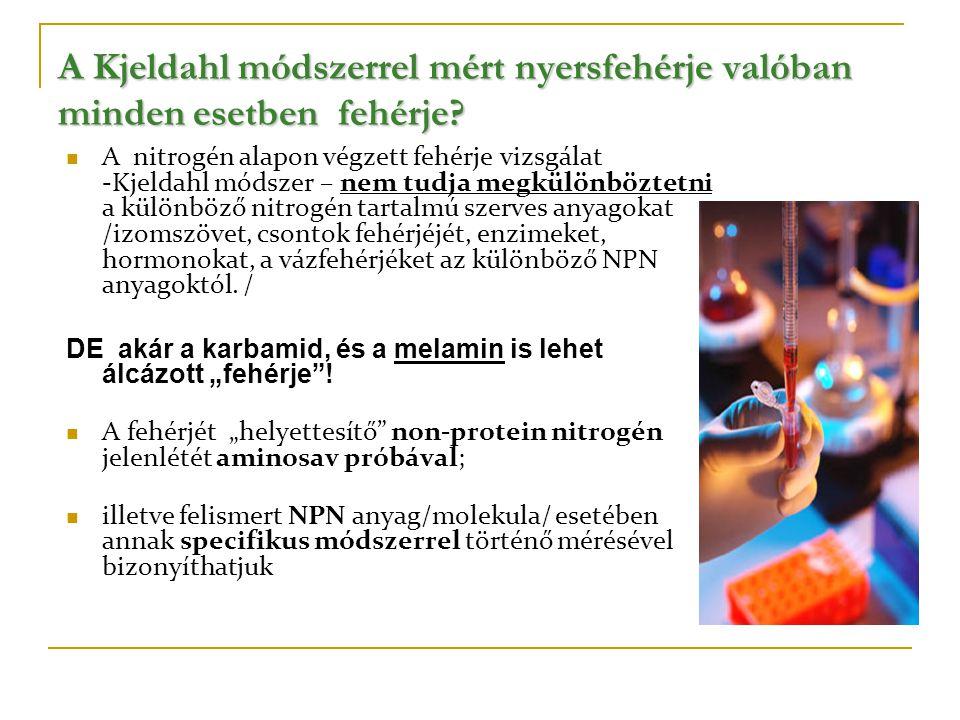 A Kjeldahl módszerrel mért nyersfehérje valóban minden esetben fehérje?  A nitrogén alapon végzett fehérje vizsgálat -Kjeldahl módszer – nem tudja me