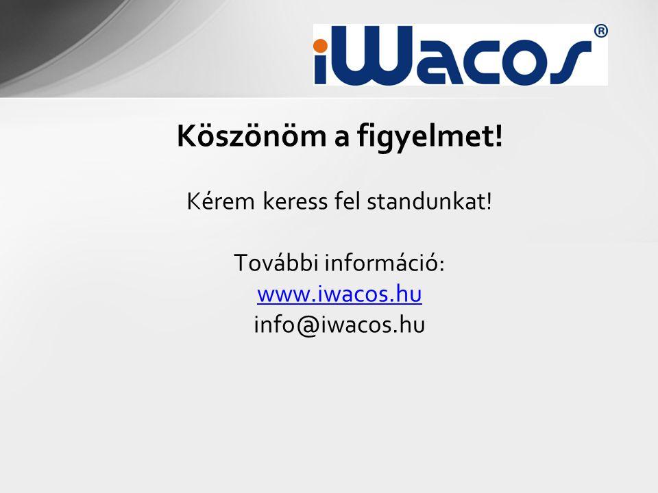 Köszönöm a figyelmet! Kérem keress fel standunkat! További információ: www.iwacos.hu info@iwacos.hu