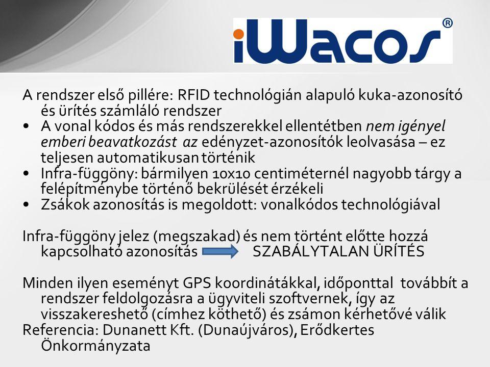 A rendszer első pillére: RFID technológián alapuló kuka-azonosító és ürítés számláló rendszer •A vonal kódos és más rendszerekkel ellentétben nem igén