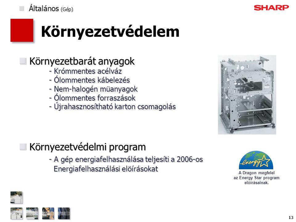 13 Környezetvédelem Környezetbarát anyagok - Krómmentes acélváz - Ólommentes kábelezés - Nem-halogén müanyagok - Ólommentes forraszások - Újrahasznosítható karton csomagolás Környezetbarát anyagok - Krómmentes acélváz - Ólommentes kábelezés - Nem-halogén müanyagok - Ólommentes forraszások - Újrahasznosítható karton csomagolás Környezetvédelmi program - A gép energiafelhasználása teljesíti a 2006-os Energiafelhasználási elöírásokat Környezetvédelmi program - A gép energiafelhasználása teljesíti a 2006-os Energiafelhasználási elöírásokat A Dragon megfelel az Energy Star program elöírásainak.