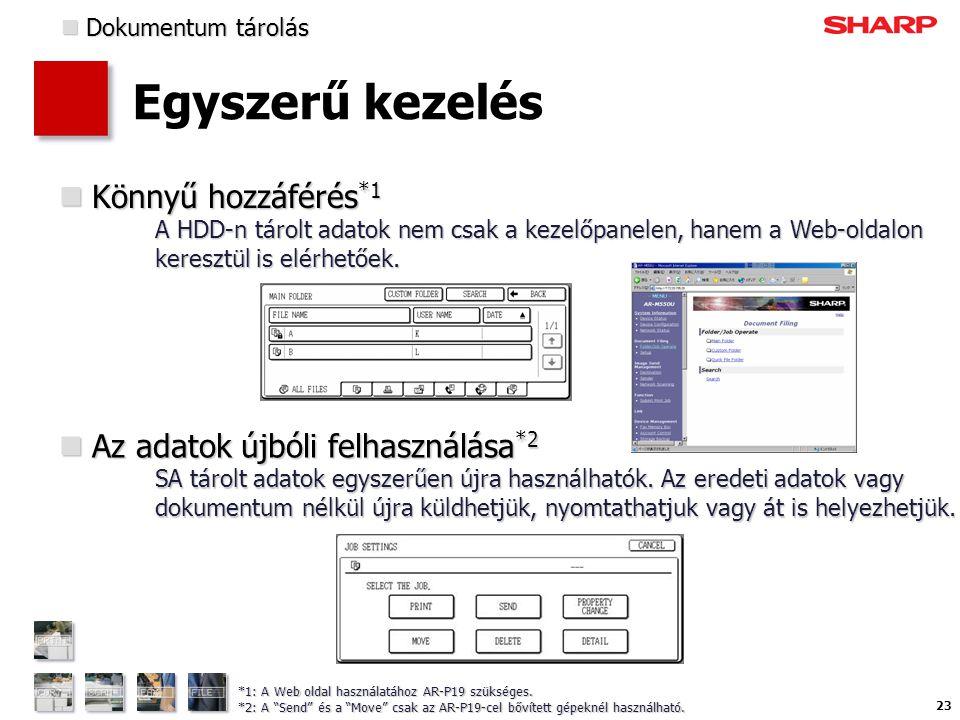 23 Egyszerű kezelés  Könnyű hozzáférés *1 A HDD-n tárolt adatok nem csak a kezelőpanelen, hanem a Web-oldalon keresztül is elérhetőek.