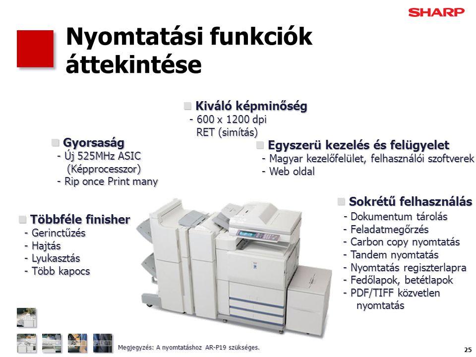 25 Nyomtatási funkciók áttekintése  Sokrétű felhasználás - Dokumentum tárolás - Feladatmegőrzés - Carbon copy nyomtatás - Tandem nyomtatás - Nyomtatás regiszterlapra - Fedőlapok, betétlapok - PDF/TIFF közvetlen nyomtatás  Gyorsaság - Új 525MHz ASIC (Képprocesszor) - Rip once Print many  Többféle finisher - Gerinctűzés - Hajtás - Lyukasztás - Több kapocs  Egyszerü kezelés és felügyelet - Magyar kezelőfelület, felhasználói szoftverek - Web oldal  Kiváló képminőség - 600 x 1200 dpi RET (simítás) Megjegyzés: A nyomtatáshoz AR-P19 szükséges.
