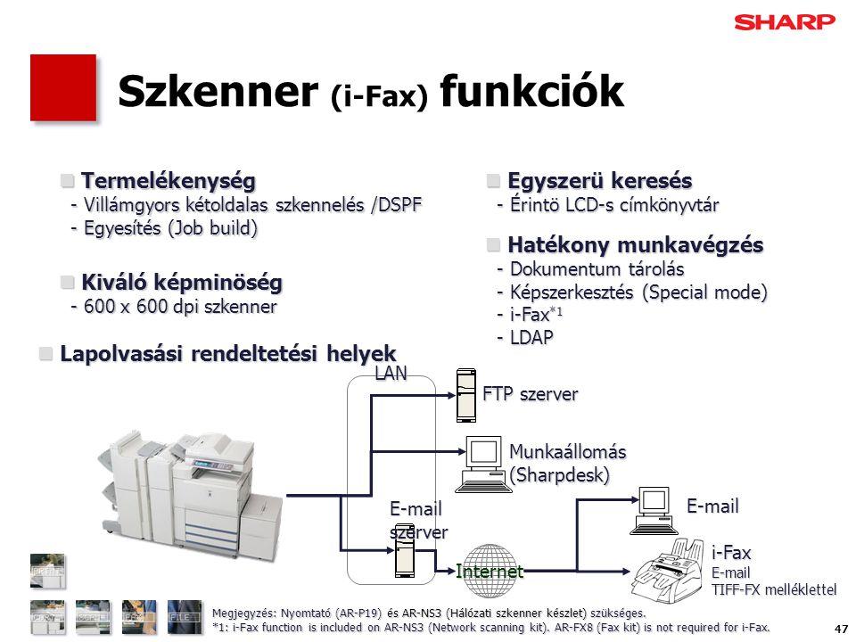 47 Szkenner (i-Fax) funkciók  Hatékony munkavégzés - Dokumentum tárolás - Képszerkesztés (Special mode) - i-Fax *1 - LDAP  Termelékenység - Villámgyors kétoldalas szkennelés /DSPF - Egyesítés (Job build)  Kiváló képminöség - 600 x 600 dpi szkenner FTP szerver Munkaállomás(Sharpdesk) E-mail i-FaxE-mail TIFF-FX melléklettel Internet LAN  Lapolvasási rendeltetési helyek  Egyszerü keresés - Érintö LCD-s címkönyvtár E-mailszerver Megjegyzés: Nyomtató (AR-P19) és AR-NS3 (Hálózati szkenner készlet) szükséges.