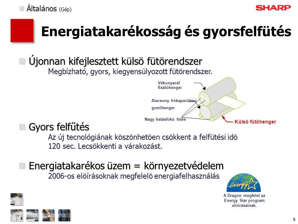 5 Energiatakarékosság és gyorsfelfütés  Újonnan kifejlesztett külsö fütörendszer Megbízható, gyors, kiegyensúlyozott fütörendszer.