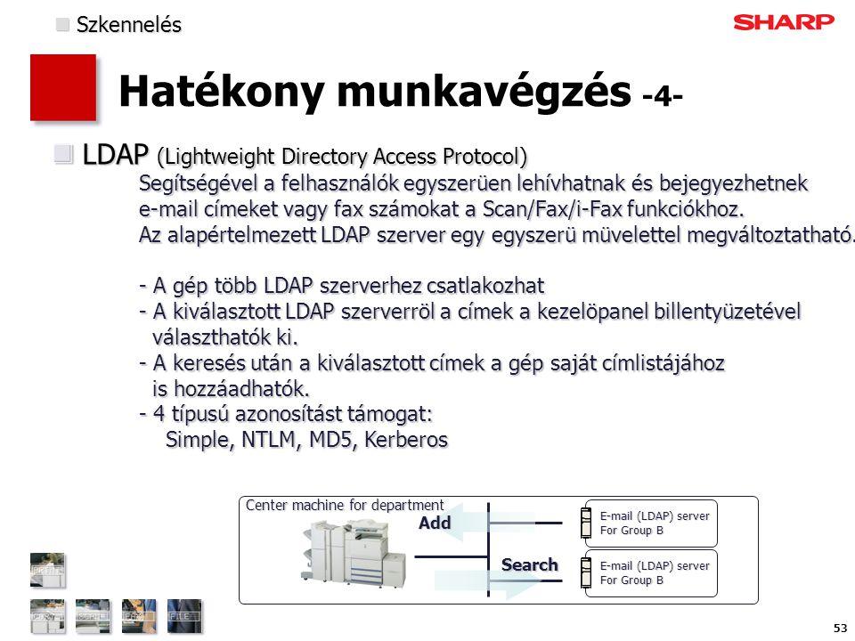 53 Hatékony munkavégzés -4- LDAP (Lightweight Directory Access Protocol) Segítségével a felhasználók egyszerüen lehívhatnak és bejegyezhetnek e-mail címeket vagy fax számokat a Scan/Fax/i-Fax funkciókhoz.