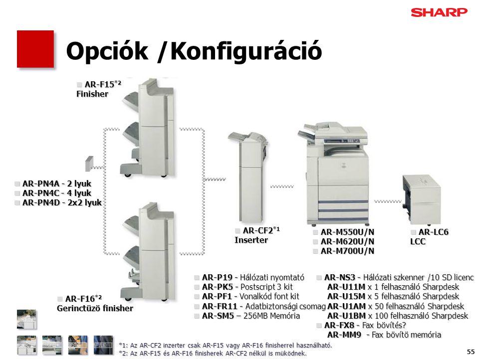 55 Opciók /Konfiguráció  AR-F15 *2 Finisher  AR-F16 *2 Gerinctüzö finisher  AR-CF2 *1 Inserter  AR-M550U/N  AR-M620U/N  AR-M700U/N  AR-LC6 LCC  AR-P19 - Hálózati nyomtató  AR-PK5 - Postscript 3 kit  AR-PF1 - Vonalkód font kit  AR-FR11 - Adatbiztonsági csomag  AR-SM5 – 256MB Memória  AR-NS3 - Hálózati szkenner /10 SD licenc AR-U11M x 1 felhasználó Sharpdesk AR-U11M x 1 felhasználó Sharpdesk AR-U15M x 5 felhasználó Sharpdesk AR-U15M x 5 felhasználó Sharpdesk AR-U1AM x 50 felhasználó Sharpdesk AR-U1AM x 50 felhasználó Sharpdesk AR-U1BM x 100 felhasználó Sharpdesk AR-U1BM x 100 felhasználó Sharpdesk  AR-FX8 - Fax bövítés.