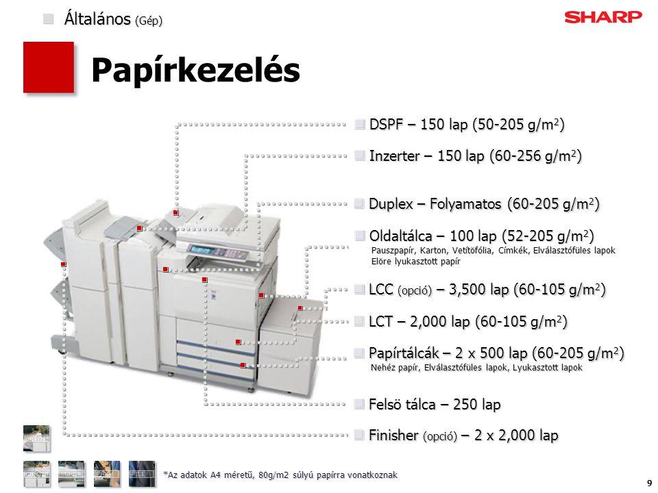 9 Papírkezelés DSPF – 150 lap (50-205 g/m 2 ) DSPF – 150 lap (50-205 g/m 2 ) Oldaltálca – 100 lap (52-205 g/m 2 ) Pauszpapír, Karton, Vetítöfólia, Címkék, Elválasztófüles lapok Elöre lyukasztott papír Oldaltálca – 100 lap (52-205 g/m 2 ) Pauszpapír, Karton, Vetítöfólia, Címkék, Elválasztófüles lapok Elöre lyukasztott papír LCC (opció) – 3,500 lap (60-105 g/m 2 ) LCC (opció) – 3,500 lap (60-105 g/m 2 ) LCT – 2,000 lap (60-105 g/m 2 ) LCT – 2,000 lap (60-105 g/m 2 ) Papírtálcák – 2 x 500 lap (60-205 g/m 2 ) Nehéz papír, Elválasztófüles lapok, Lyukasztott lapok Papírtálcák – 2 x 500 lap (60-205 g/m 2 ) Nehéz papír, Elválasztófüles lapok, Lyukasztott lapok Felsö tálca – 250 lap Felsö tálca – 250 lap Inzerter – 150 lap (60-256 g/m 2 ) Inzerter – 150 lap (60-256 g/m 2 ) Finisher (opció) – 2 x 2,000 lap Finisher (opció) – 2 x 2,000 lap *Az adatok A4 méretű, 80g/m2 súlyú papírra vonatkoznak Duplex – Folyamatos (60-205 g/m 2 ) Duplex – Folyamatos (60-205 g/m 2 )  Általános (Gép)