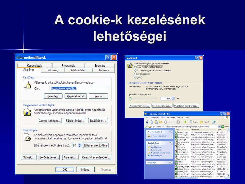 A cookie-k kezelésének lehetőségei  Az Internet Explorer megengedi a cookie-k használatát, a felhasználó azonban módosíthatja adatvédelmi beállításai