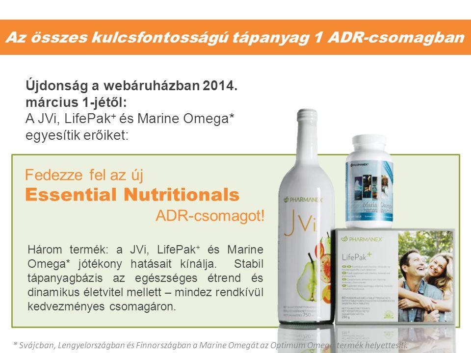 Az összes kulcsfontosságú tápanyag 1 ADR-csomagban Három termék: a JVi, LifePak + és Marine Omega* jótékony hatásait kínálja. Stabil tápanyagbázis az