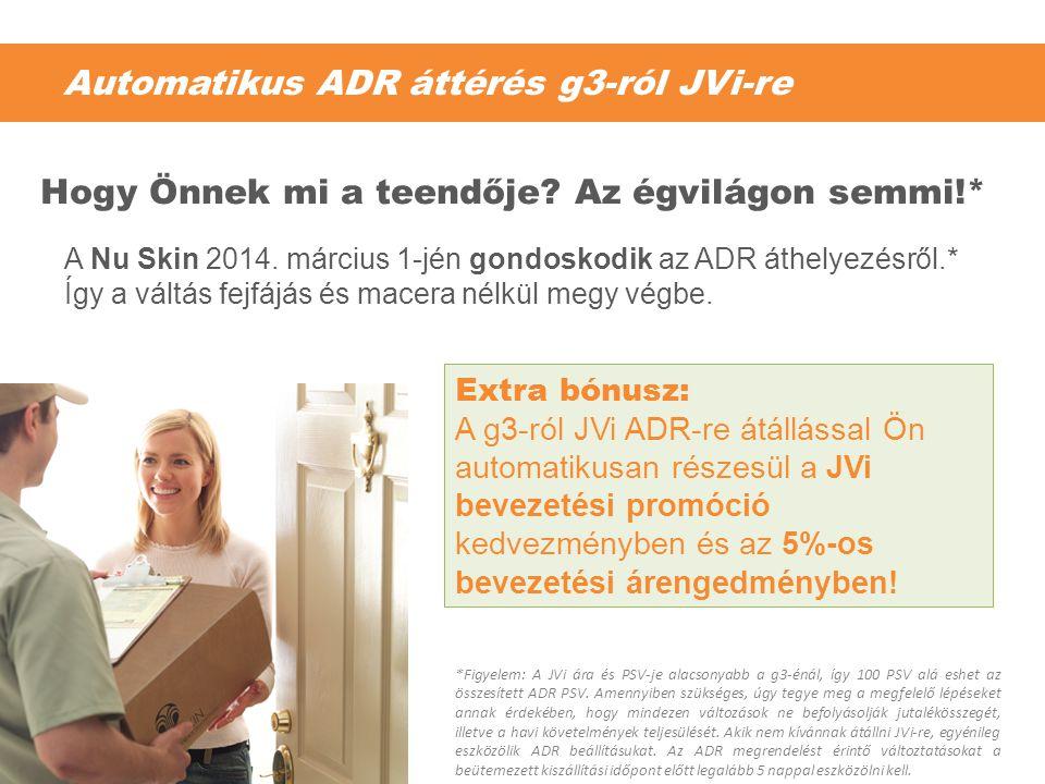 Automatikus ADR áttérés g3-ról JVi-re A Nu Skin 2014. március 1-jén gondoskodik az ADR áthelyezésről.* Így a váltás fejfájás és macera nélkül megy vég