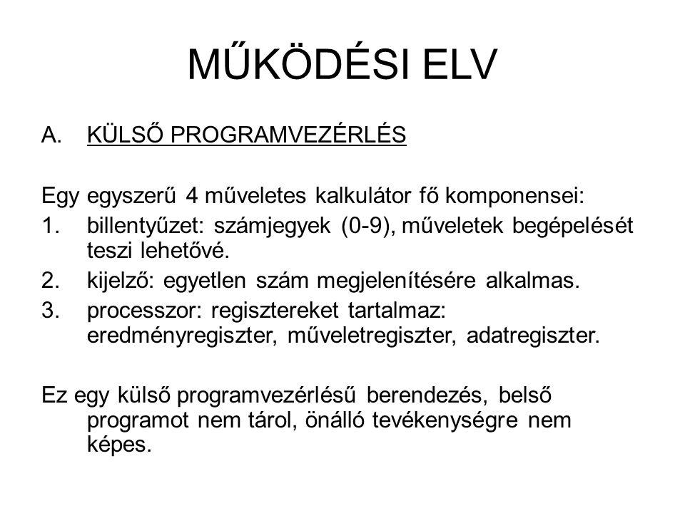 Külső programvezérlésű számológép KIJELZŐ PROCESSZOR BILLENTYŰZET