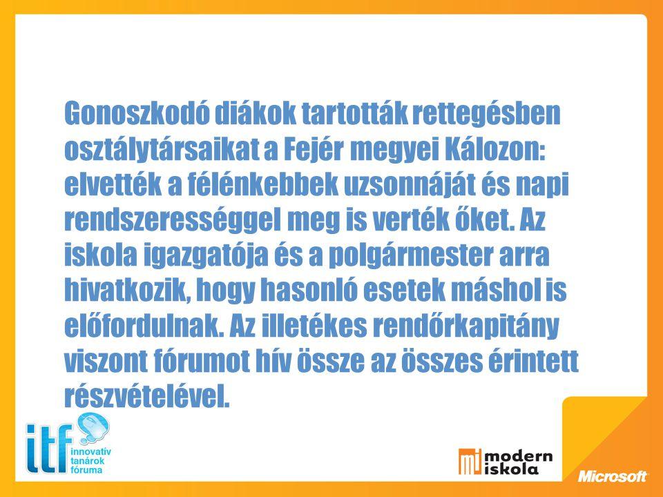 Gonoszkodó diákok tartották rettegésben osztálytársaikat a Fejér megyei Kálozon: elvették a félénkebbek uzsonnáját és napi rendszerességgel meg is verték őket.