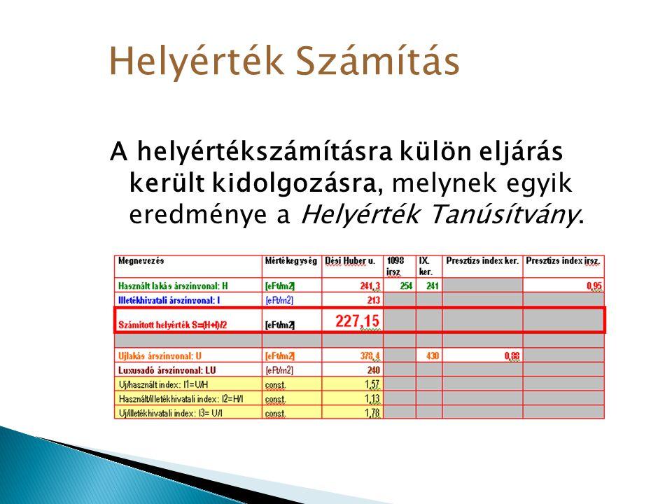A helyértékszámításra külön eljárás került kidolgozásra, melynek egyik eredménye a Helyérték Tanúsítvány. Helyérték Számítás