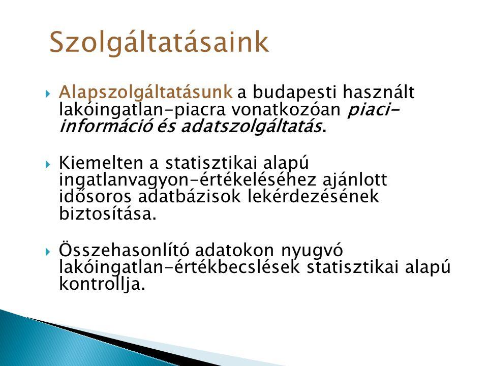  Alapszolgáltatásunk a budapesti használt lakóingatlan-piacra vonatkozóan piaci- információ és adatszolgáltatás.  Kiemelten a statisztikai alapú ing