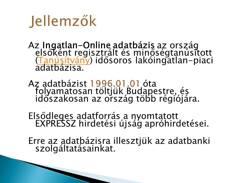 Az Ingatlan-Online adatbázis az ország elsőként regisztrált és minőségtanúsított (Tanúsítvány) idősoros lakóingatlan-piaci adatbázisa.Tanúsítvány Az a