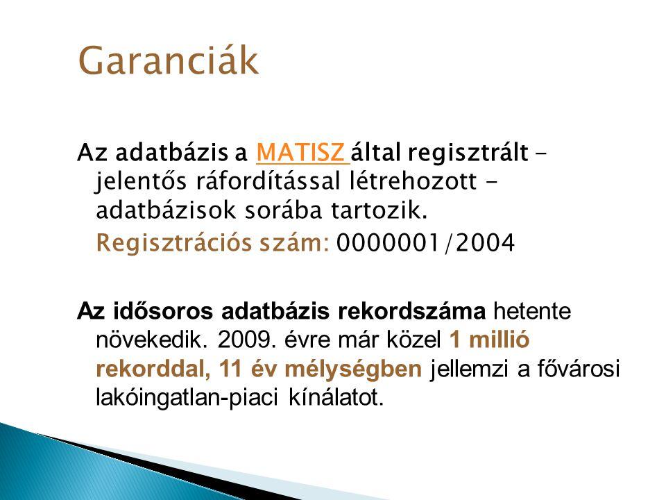 Az adatbázis a MATISZ által regisztrált - jelentős ráfordítással létrehozott - adatbázisok sorába tartozik.MATISZ Regisztrációs szám: 0000001/2004 Az