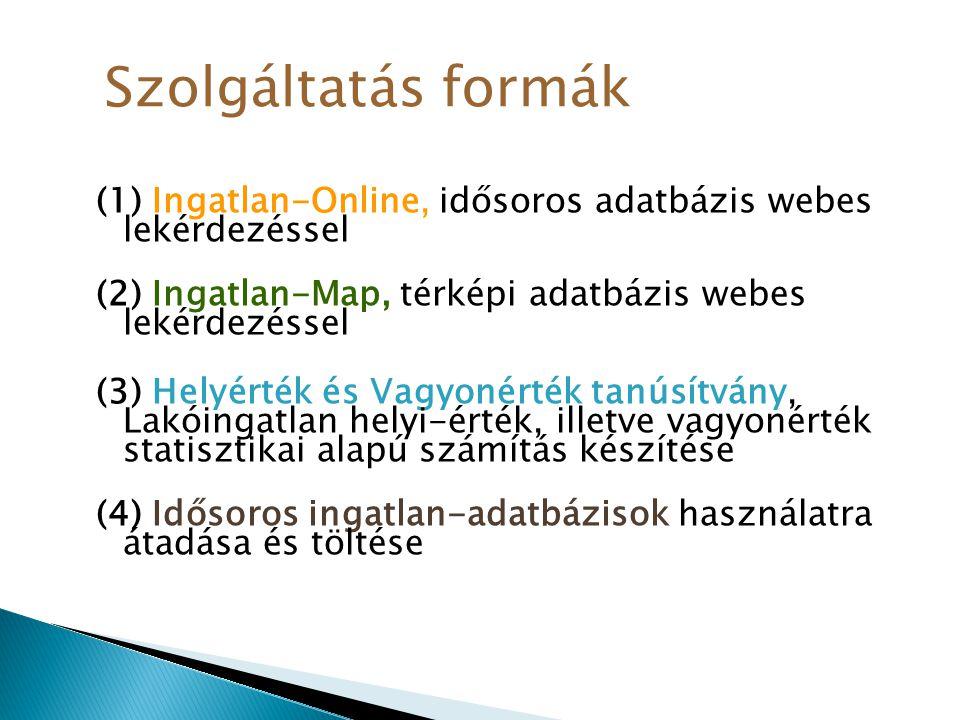 (1) Ingatlan-Online, idősoros adatbázis webes lekérdezéssel (2) Ingatlan-Map, térképi adatbázis webes lekérdezéssel (3) Helyérték és Vagyonérték tanús